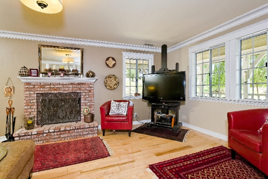 Brick Fireplace in Ojai home for sale