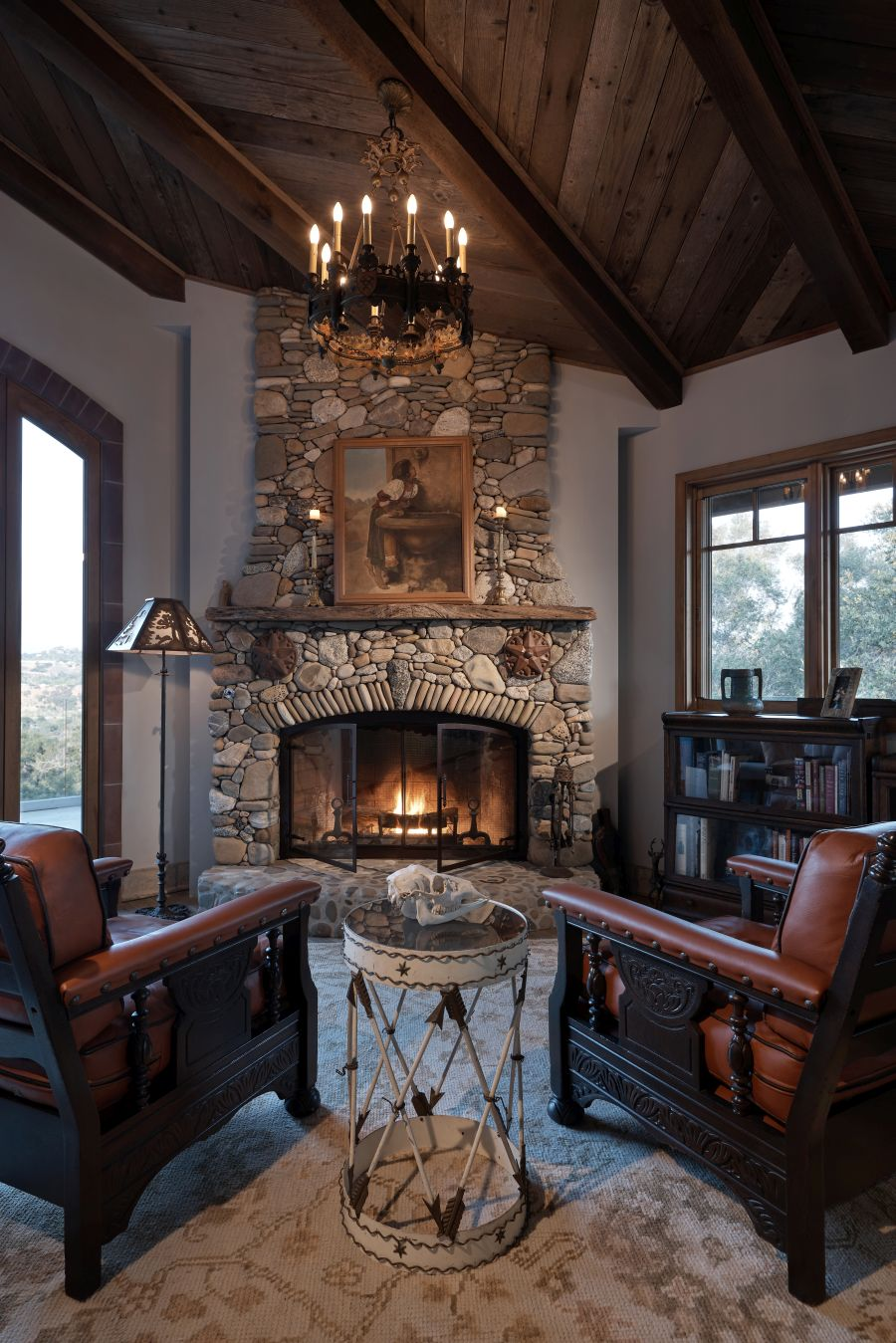 Stone Fireplace at Lucky Q Ranch in Ojai